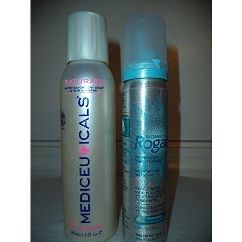Therapro Mediceuticals Saturate Dry Scalp & Hair Shampoo for Women 6 oz & Women's ROGAINE 5% Minoxidil Topical Aerosol Foam - Unscented - 2.11 oz. DUO SET
