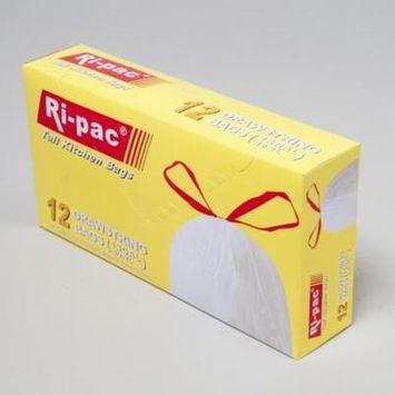 Ri-Pac 13 Gallon Tall Kitchen Drawstring Trash Bags, White, 12 Ct