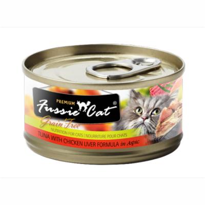 Fussie Cat Premium Tuna with Chicken Liver Formula in Aspic 24ct Case 2.82oz cans