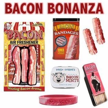Bacon Bonanza Sampler Gift Pack (5pc Set) - Bacon Bandages, Air Freshener, Mints, Toothpicks & I Love Bacon Wristband