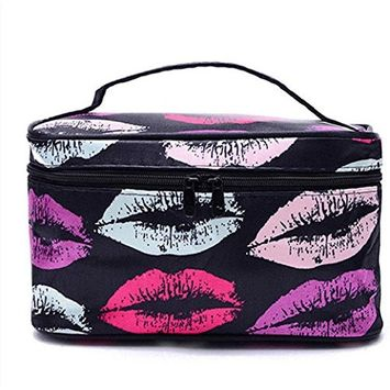 Polytree Multifunction Travel Cosmetic Bag Makeup Case Pouch Toiletry Organizer - Color Lips