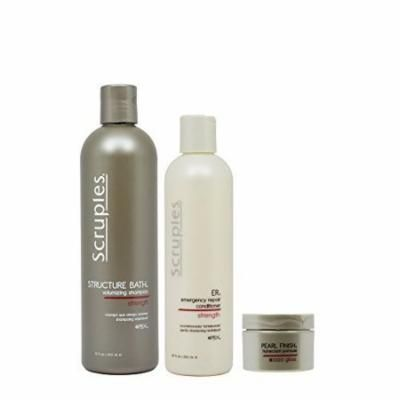 "Scruples Structure Bath Volumizing Shampoo 12oz & ER Emergency Repair Conditioner 8.5oz & Pearl Finish Humectant Pomade ""Set"""