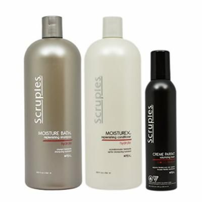 "Scruples Moisture Bath Shampoo & Conditioner 33.8oz & Creme Parfait Volumizing Foam 8.5oz ""Set"""