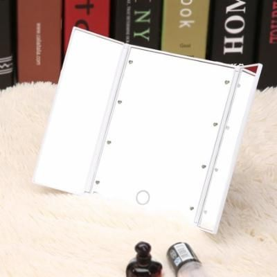 8 LEDs White Light Adjustable Brightness Dimmable Beauty Cosmetic Makeup Tabletop Mirror