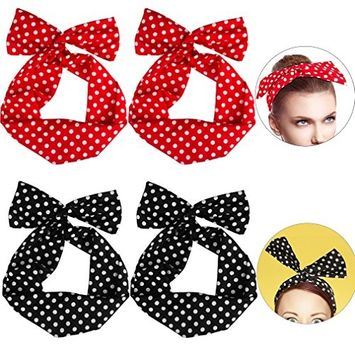 SuPoo 4 Pack Twist Bow Wired Headband, Sweet Retro Bowknot Polka Dot Wire Head Bows Headband Hair Holder for Women Girls, Black and Red,