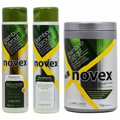 "Novex Bamboo Sprout Shampoo & Conditioner 10.14oz & Deep Hair Cream Treatment 35.3oz ""Set"""