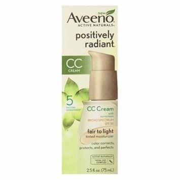 Aveeno Active Naturals Positively Radiant CC Cream SPF 30, Fair to Light Tinted Moisturizer, 2.5 oz, 2 Pack