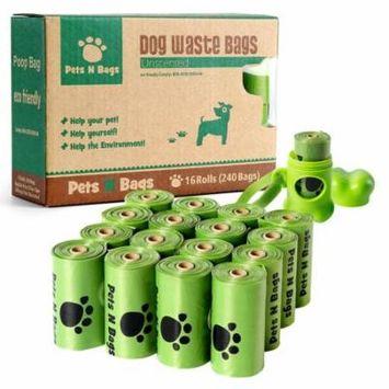 Poop Bags, Pets N Bags Dog Waste Bags, Refill Roll-16 Rolls/240 Count