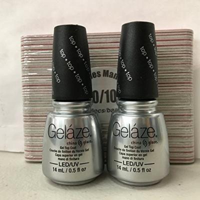 Gelaze Gel Top Coat 2 Pack + Free Nail Files $6 Value!