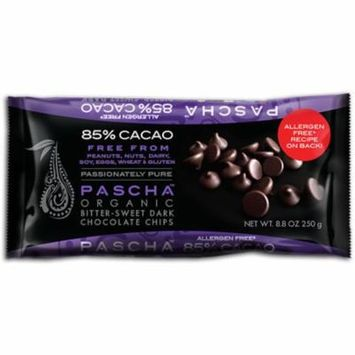 Pascha Organic Dark Chocolate Chips 85% Cacao Bittersweet Chocolate -- 8.8 oz pack of 4