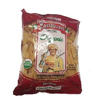 Penne Rigate Organic Macaroni, Organic Durum Wheat Semolia Pasta, Net Wt 16 oz