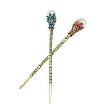 yueton?Pack of 2 Rhinestone Pearl Hair Stick Vintage Hair Chopsticks Hairpin Chignon Pin