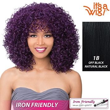 it's a Wig! - Curly Bang Ready-To-Go Wig with Heat Resistant Synthetic Wig - MISHA (1B - Off Black / Natural Black)