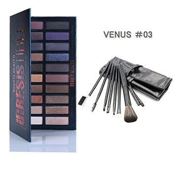 Beauty Glazed 20 Colors Eye shadow Palette Matte and Make Up Brush 7 in One Set Shimmer Natural Colors High Pigments Waterproof Professional Makeup Eye Shadow Smoky