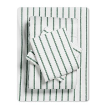 Mainstays Ticking Stripe 155 GSM, 100% Cotton, Flannel Sheet Set, Forest, Twin-XL [name: size value: size-twin-xl]