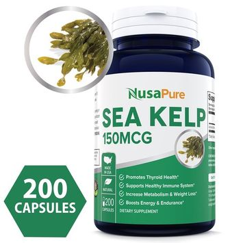 Best Sea Kelp 150mcg 200 Capsules (Non-GMO & Gluten Free) - for Weight Loss, Thyroid Support, Helps with Hair and Nail Health, Anti-Aging & Boosts Vitamin A, B, C, D, E and K - Natural Iodine