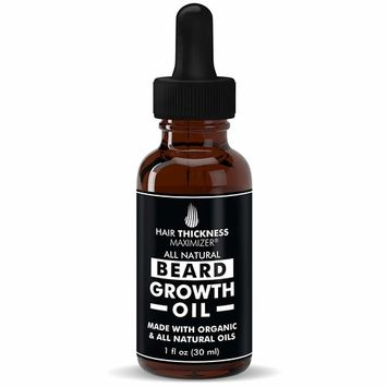 Best Organic Beard Oil For Men by Hair Thickness Maximizer. For Men's Natural Beard Growth + Grooming. Also Great As Mustache Oil. Oils - Argan, Jojoba, Moringa, and more! (1 oz)