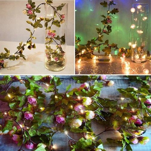 Christmas String Light, Flower LED String Copper Wire Christmas Lights Battery Xmas Party Fairy Decor Lamp