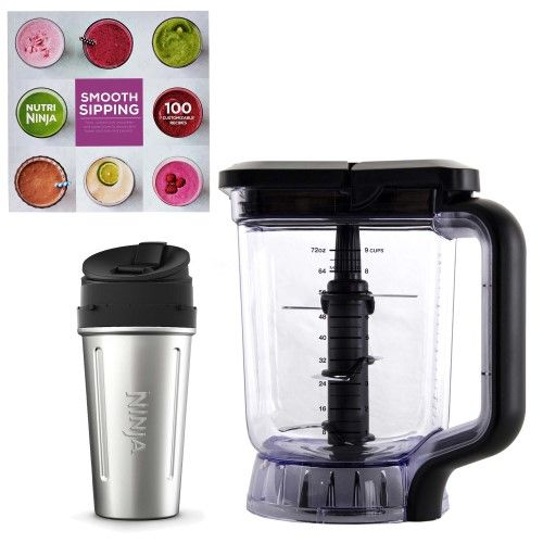 Ninja 72-Ounce Pitcher + 24-Oz Stainless Steel Nutri Ninja Cup + 100 Recipe Book