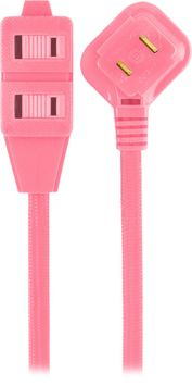 Cordinate Designer Extension Cord, 3-Outlet, Pink, 8 ft. Cord