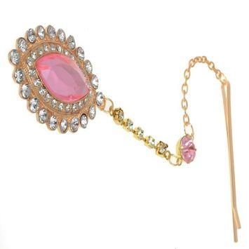 HSF Women's Pink Crystal Bindi Hair Clip Head Jewelry