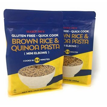 New Trader Joe's Brown Rice and Quinoa Pasta - Mini Elbows - Gluten Free - Quick Cook (2-3 Min) - NET WT 10.5 Oz - 2 PACK