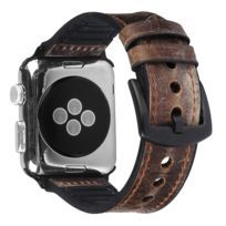 Bracelet en Pu + silicone marron pour votre Apple Watch Series 4 44mm/Series 3/2/1 42mm