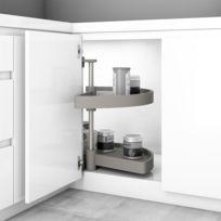 Emuca Jeu de plateaux tournants module de cuisine, 180º, module 800 mm, Plastiqu