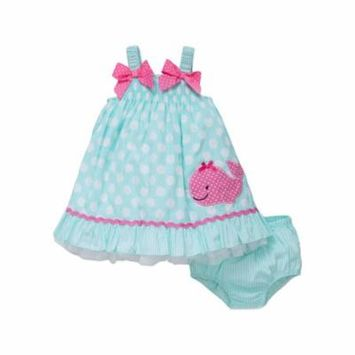 Whale Sundress and Panty Diaper Cover - Blue Multi - 24 Months