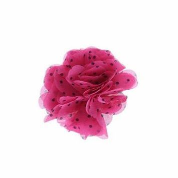 Hair Accessory Fuchsia Polka Dot Chiffon Flower Hair Clip (Set of 4)