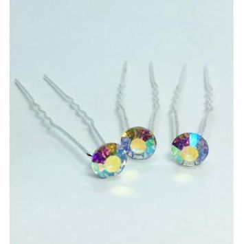 Colorful Crystal Rhinestone Silver Plated Hair Pins 1