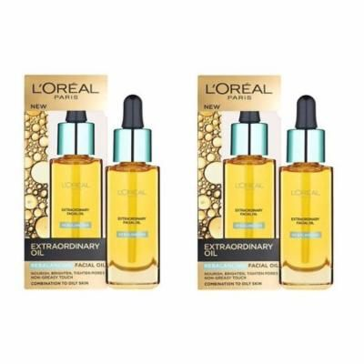 L'Oreal Paris Nutri Gold Extraordinary Facial Oil for Dry Skin, 1 Oz (Pack of 2) + 3 Count Eyebrow Trimmer