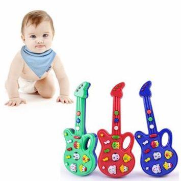 Toy Musical Instruments Super Hot Sale Children Baby Kids Guitar Toys Nursery Rhyme Wisdom Development Simulation Music Plastic Guitar Best Gift, Multi Color