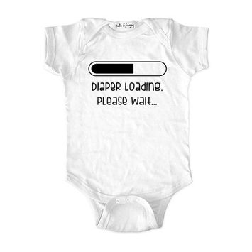 Diaper loading please wait (design5) - wallsparks cute & funny Brand - baby one piece bodysuit - Great baby shower gift!