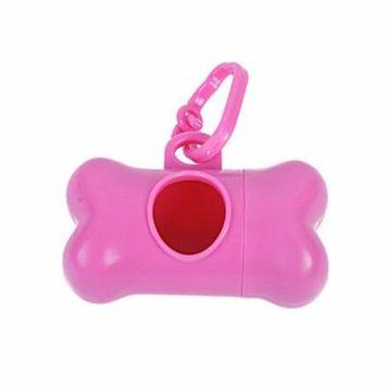 Pet Dog Bone Shape Dispenser Box Clean-up Waste Bag Carrier Holder Case (Pink)