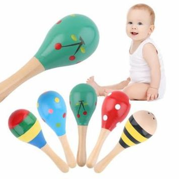 5pcs Baby Kids Sound Music Gift Toddler Rattle Musical Wooden Colorful Toys