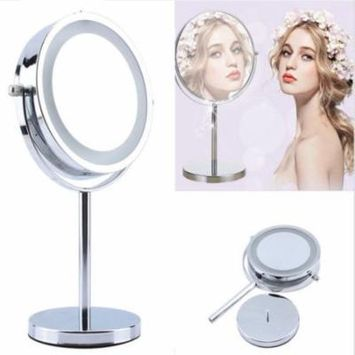 HURRISE Double-Sided Vanity Makeup Mirror,Round Shaped 5x Magnifying Cosmetic Mirror with LED Light and Adjustable Swivel Stand