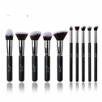 Professional 10pcs Black/Silver Foundation blush Liquid Kabuki brush Makeup Brushes tools set Beauty Cosmetics