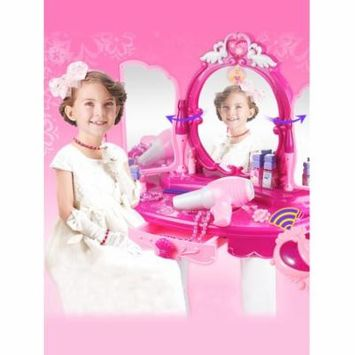 Girls Toy Makeup Accessories Pink Make-Up Table Toy with Big Mirror, Cosmetics, Working Hair Dryer