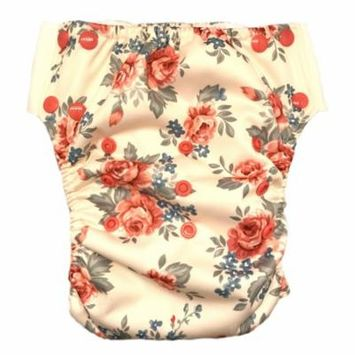 HappyEndings Kid Pull On Reusable Cloth Diapers / Training Pants Vintage Bunnies, Size Large (fits 45-65lbs)