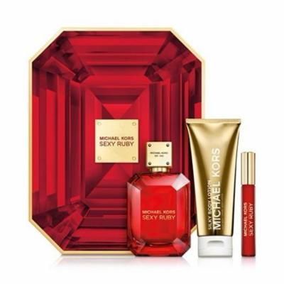 Michael Kors Sexy Ruby 3 Pc Deluxe Perfume Gift Set For Women