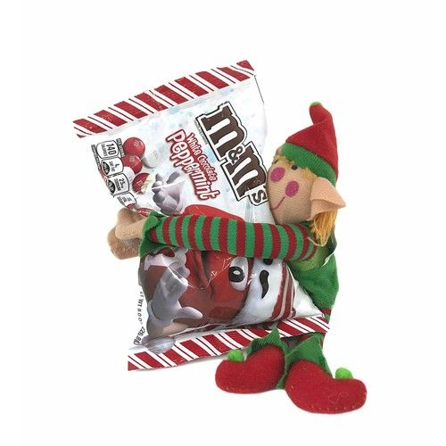 Christmas White Chocolate Peppermint Holiday M&Ms Hugged with Plush Long Armed Elf Wrapped in Tissue