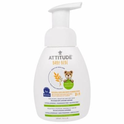 ATTITUDE, Sensitive Skin Care, Baby, 2-in-1, Natural Hair and Body Foaming Wash, Fragrance Free, 8.4 fl oz(pack of 2)