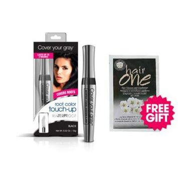Cover Your Gray Waterproof Root Touch-Up - Black with BONUS Almond Hair Cleanser Packette