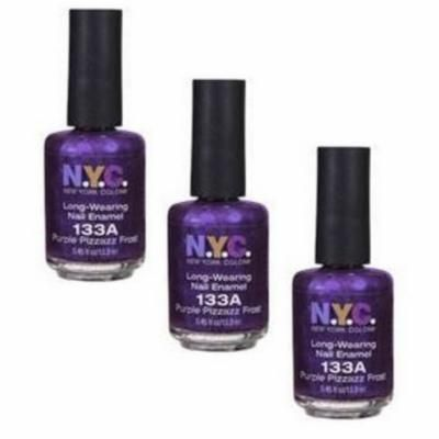 2 Pack - New York Color Long Wearing Nail Enamel, Purple Pizzazz Frost [133], 3 pack