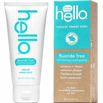 3 Pack - Hello Fluoride Free Whitening Toothpaste, Natural Sweet Mint 4.2 oz