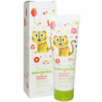 BabyGanics, Fluoride Free Toothpaste, Strawberry, 4 oz(pack of 12)