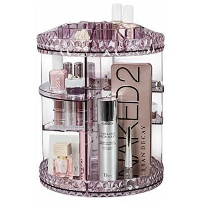 Sorbus Rotating Makeup Organizer, 360° Rotating Adjustable Carousel Storage for Cosmetics, Toiletries, and More — Great for Vanity, Bathroom, Bedroom, Closet, Kitchen (Purple)