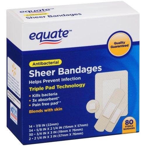 Equate Antibacterial Sheer Bandages, 80 Ct