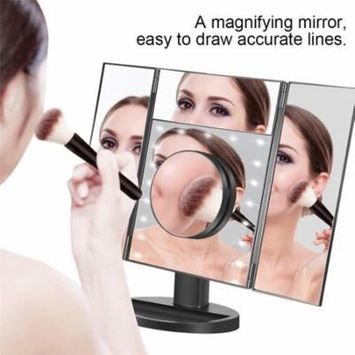 LED Trifold Makeup Mirror,Touch Panel Cosmetic Lamp Mirror Touch Screen USB Charging